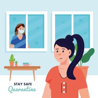 Bleiben sie zu hause, quarantäne oder selbstisolation, frauen im haus, bleiben sie sicher quarantäne-konzept.