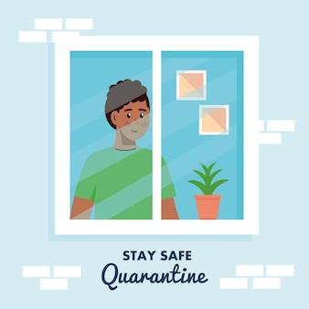 Bleiben sie zu hause, quarantäne oder selbstisolation, hausfassade mit fenster und junger mann schauen von zu hause weg, bleiben sie sicher quarantäne-konzept.