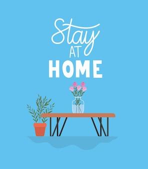 Bleiben sie zu hause schriftzug auf einem blauen hintergrund mit pflanzen in einem topf