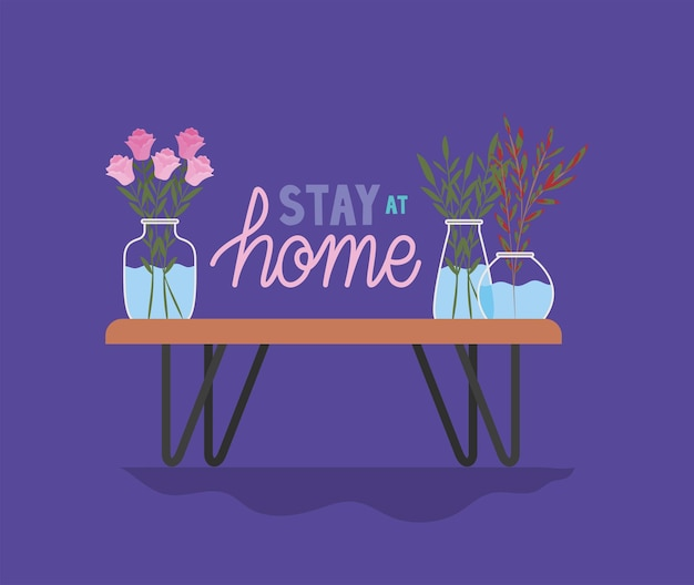 Bleiben sie zu hause schriftzug und pflanzen in einem topf auf einem lila hintergrund