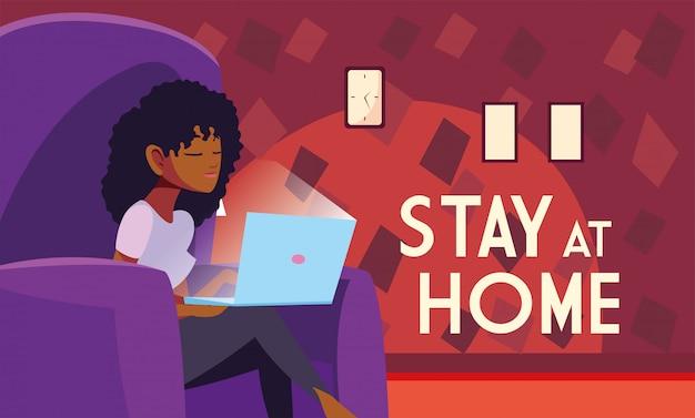 Bleiben sie zu hause sensibilisierung social-media-kampagne und coronavirus-prävention, frau im wohnzimmer