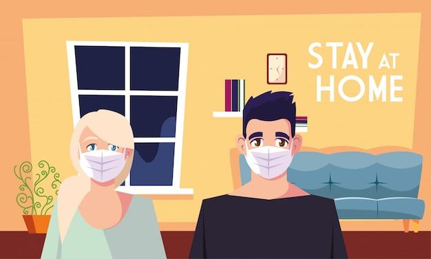 Bleiben sie zu hause sensibilisierungskampagne für soziale medien und coronavirus-prävention, teilen sich paare zu hause