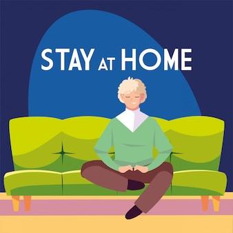Bleiben sie zu hause sensibilisierungskampagne für soziale medien und prävention von coronaviren: mann sitzt auf dem sofa