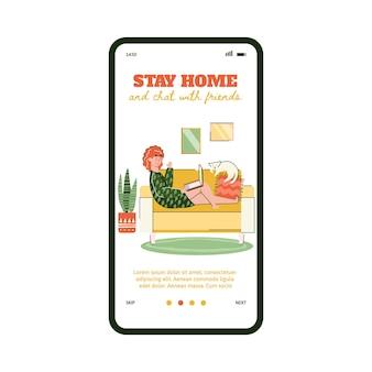 Bleiben sie zu hause und chatten sie mit freunden quarantäne-videoanruf-app