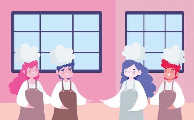 Bleiben sie zu hause, weibliche und männliche köche charakter cartoon, kochen