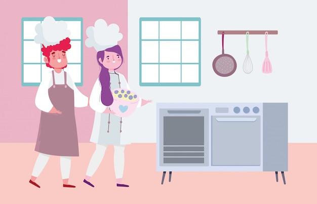 Bleiben sie zu hause, weibliche und männliche köchin mit schüssel herd küche cartoon, kochen