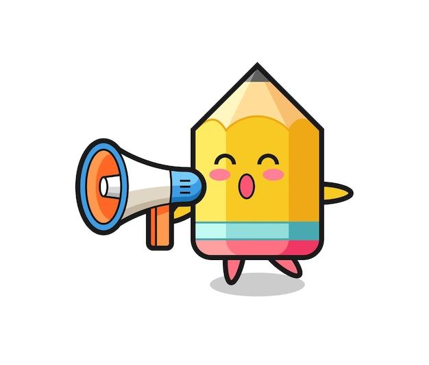 Bleistift-charakterillustration mit einem megaphon, süßem stildesign für t-shirt, aufkleber, logo-element