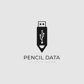 Bleistift daten kreative datentechnologie bleistift daten logo