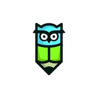 Bleistift eule bildung maskottchen logo vektor