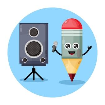 Bleistift karaoke süßes charakterlogo