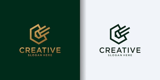 Bleistift kombiniert mit sechseck-linien-kunst-logo-design-vorlage geformter buchstabe c