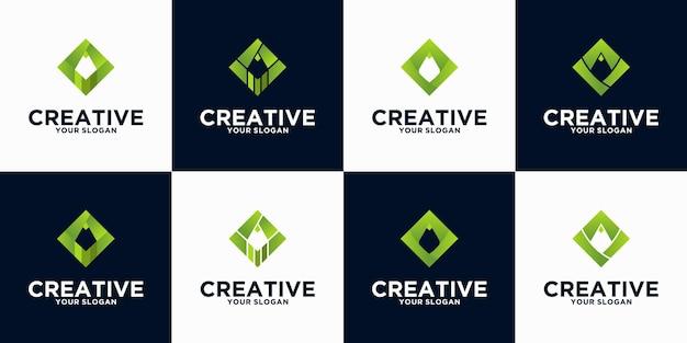 Bleistift-logo-referenzsammlung für unternehmen, anwendungen, bildung und andere