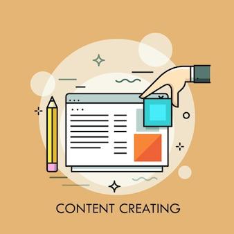 Bleistift, menschliche hand und programm- oder website-fenster. konzept der erstellung von web- oder internetinhalten, erstellung und organisation von webseiten, bloggen