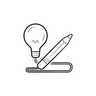 Bleistift mit glühbirne handgezeichneten umriss-doodle-symbol. kreative idee, innovative idee, kreatives prozesskonzept