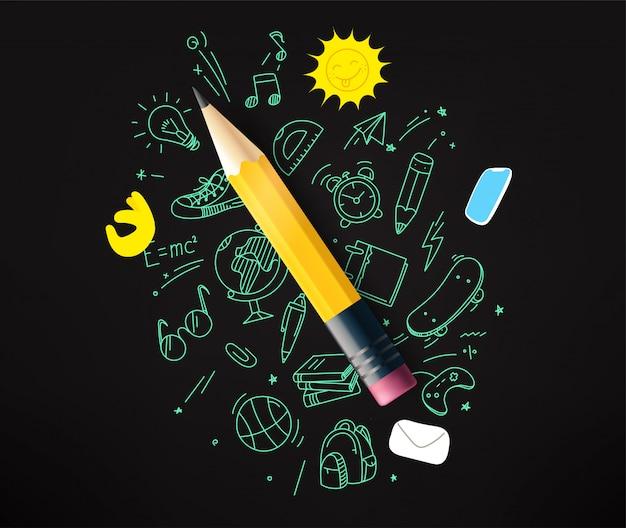 Bleistift mit kritzeleienelementillustration
