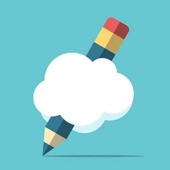 Bleistift mit wolken- oder sprechblasenzeichnung. kopieren sie platz für ihren text. kreativität, inspiration und ideenkonzept. flaches design. eps 8-vektor-illustration, keine transparenz