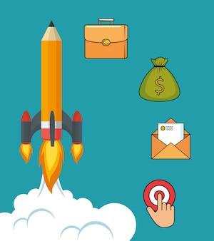 Bleistift-rakete mit start-up-business-ikonen