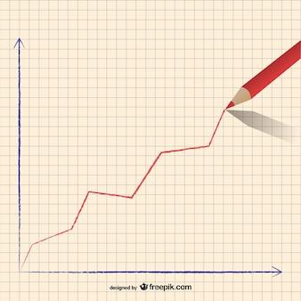 Bleistift steigende kurve