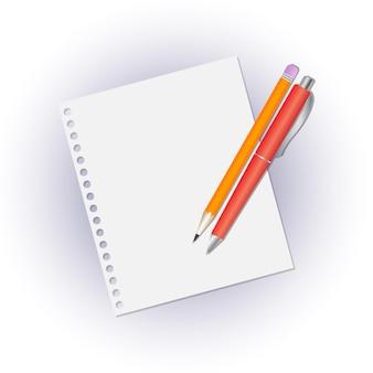Bleistift und kugelschreiber auf einem leeren notizbuch.