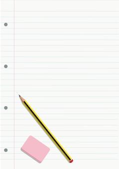 Bleistift und radierer auf einem notebook gekleidetes blatt