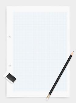 Bleistift und radiergummi auf zeichenpapierhintergrund.