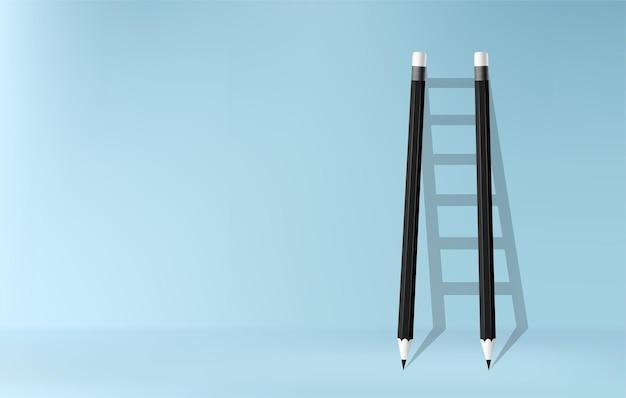 Bleistifte mit schatten des leiterhintergrundes, treppe der herausforderung, um geschäftserfolgskonzept zu erzielen