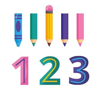 Bleistifte und zahlen cartoon isoliert. vektor-illustration