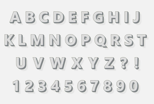 Bleistiftfarbe 3d pixel alphabete zahlen set