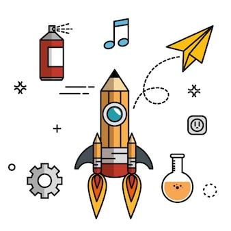 Bleistiftförmige rakete mit zahnrädern