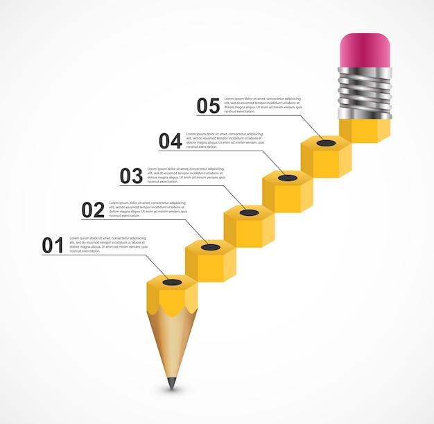 Bleistiftförmiges infografik-konzept