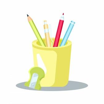 Bleistiftglasetui mit voller bleistiftillustration