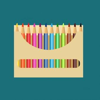 Bleistiftkastenvektorikonen-kunstdesignbildung