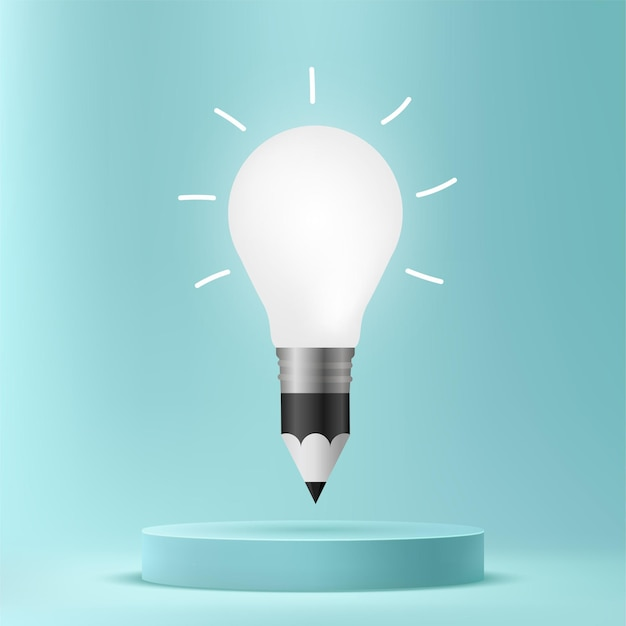 Bleistiftzeichnung glühbirne auf podium, konzepthintergrund für kreative ideen