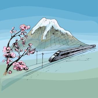 Blick auf den berg fuji und den reisenden zug mit personenwagen vektor-vintage-schraffur