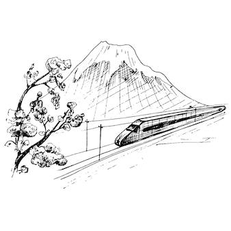 Blick auf den berg fuji und den reisenden zug mit personenwagen. vektorweinlese, die schwarze illustration ausbrütet. isoliert auf weißem hintergrund. handgezeichnetes design