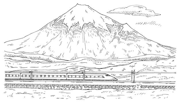 Blick auf den berg fuji und den reisenden zug mit personenwagen. vintage-gravur