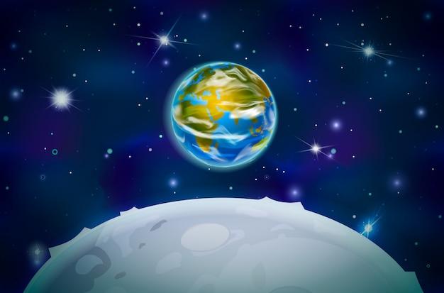 Blick auf den planeten erde vom mond-satelliten auf dem weltraumhintergrund mit hellen sternen und sternbildern