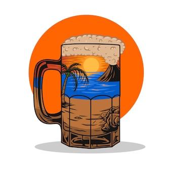 Blick auf den sonnenuntergang am strand in einem bierglas premium vector