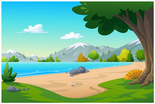 Blick auf den strand mit viel grün