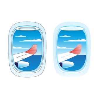 Blick auf die blaue wolke vom oberen rand des flugzeugfensters