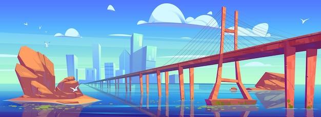 Blick auf die moderne skyline der stadt mit niedrigwasserbrücke