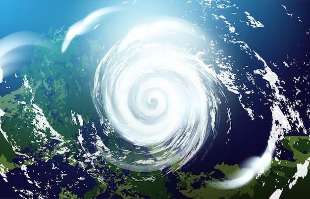 Blick auf einen riesigen hurrikan aus dem weltraum. realistische illustration.