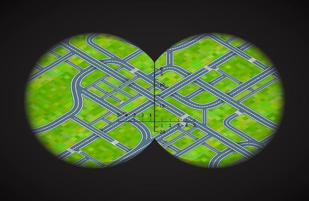 Blick vom fernglas auf schwierige straßenkreuzungen in isometrischer form
