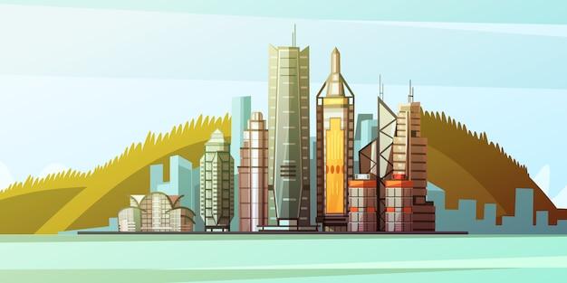 Blick vom meer auf das panorama von hong kong mit skylines und brücke