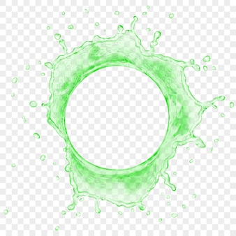 Blick von oben auf die durchscheinende wasserkrone mit tropfen in grünen farben, isoliert auf transparentem hintergrund. transparenz nur in vektordatei