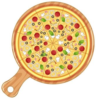 Blick von oben auf die traditionelle italienische pizza isoliert auf weiß
