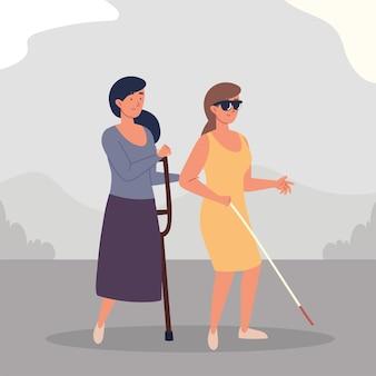Blinde und amputierte frauen