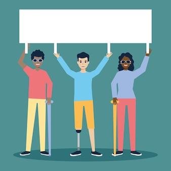 Blinde und behinderte menschen mit einem plakat