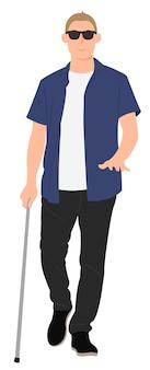 Blinder junger mann des zeichentrickfilm-charakterdesigns gehen mit einem gehstock. ideal für print- und webdesign.