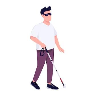 Blinder mann mit flacher farbe gesichtslosen charakter des gehstockes. behinderte junge männliche person mit stock, der allein isolierte karikaturillustration für webgrafikdesign und animation spaziert